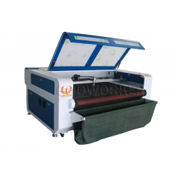 GW-1610 textile fabric cloth auto feeding laser cutting machine with conveyor & vacuum table